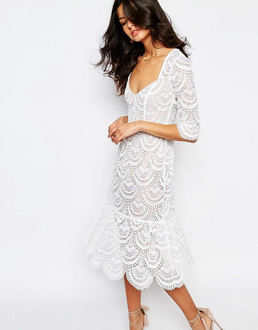 Image of for love and lemons rosalita midi dress in white lace