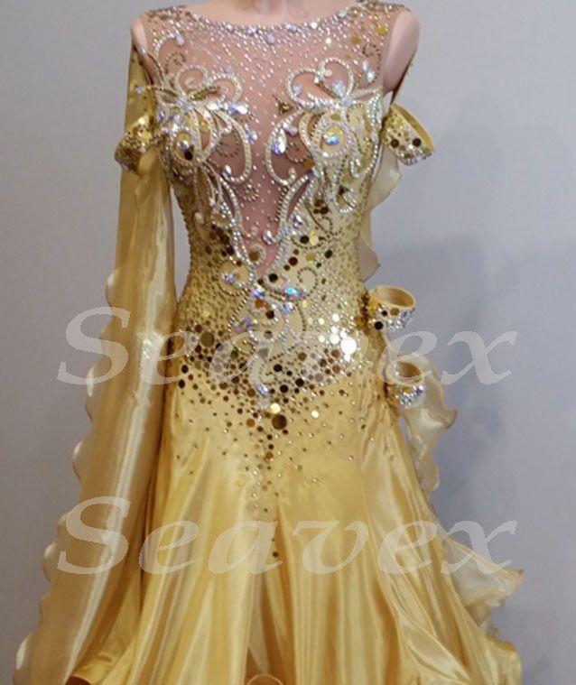 Elegant Women Ballroom tango waltz quickstep standard dance dress Yellow color