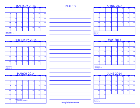 4 month calendar template 2014 - 6 month calendar 2014 calendar free template