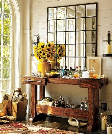 I Like The Multi Paned Mirror Also The Bright Sunflowers Decor