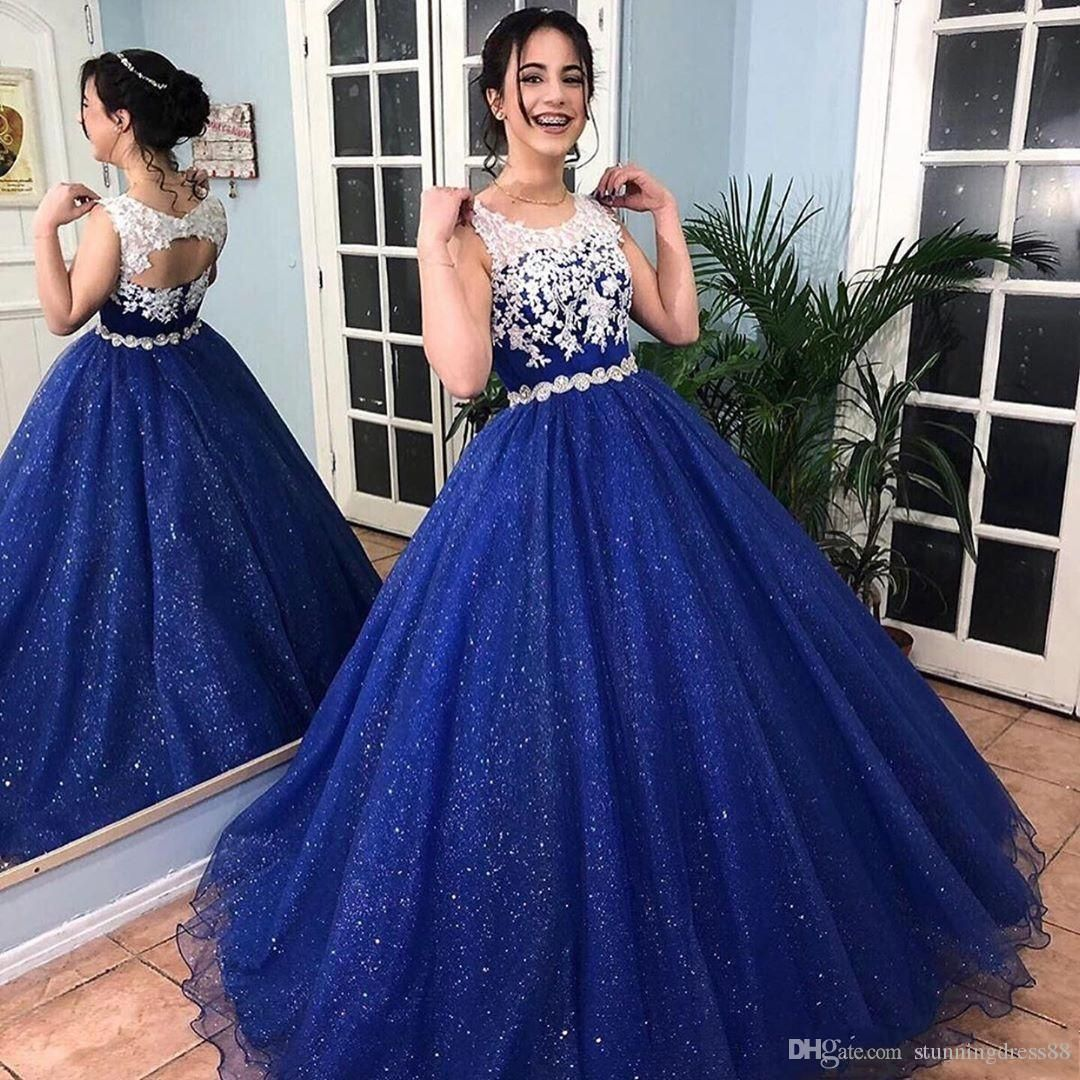 2021 Sparkly Royal Blue White Lace Sequins Tulle Prom Quinceanera Dresses Sheer Neck Keyhole Back Applique Crystals Party Evening Gown From Stunningdress88 86 Blue Ball Gowns Prom Dresses Ball Gown Royal [ 1080 x 1080 Pixel ]