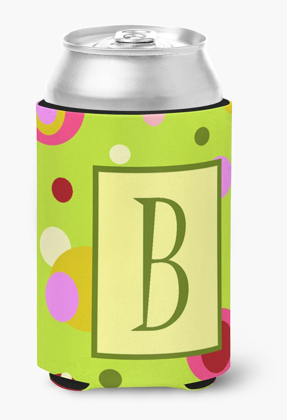 Letter B Initial Monogram - Green Can or Bottle Beverage Insulator Hugger