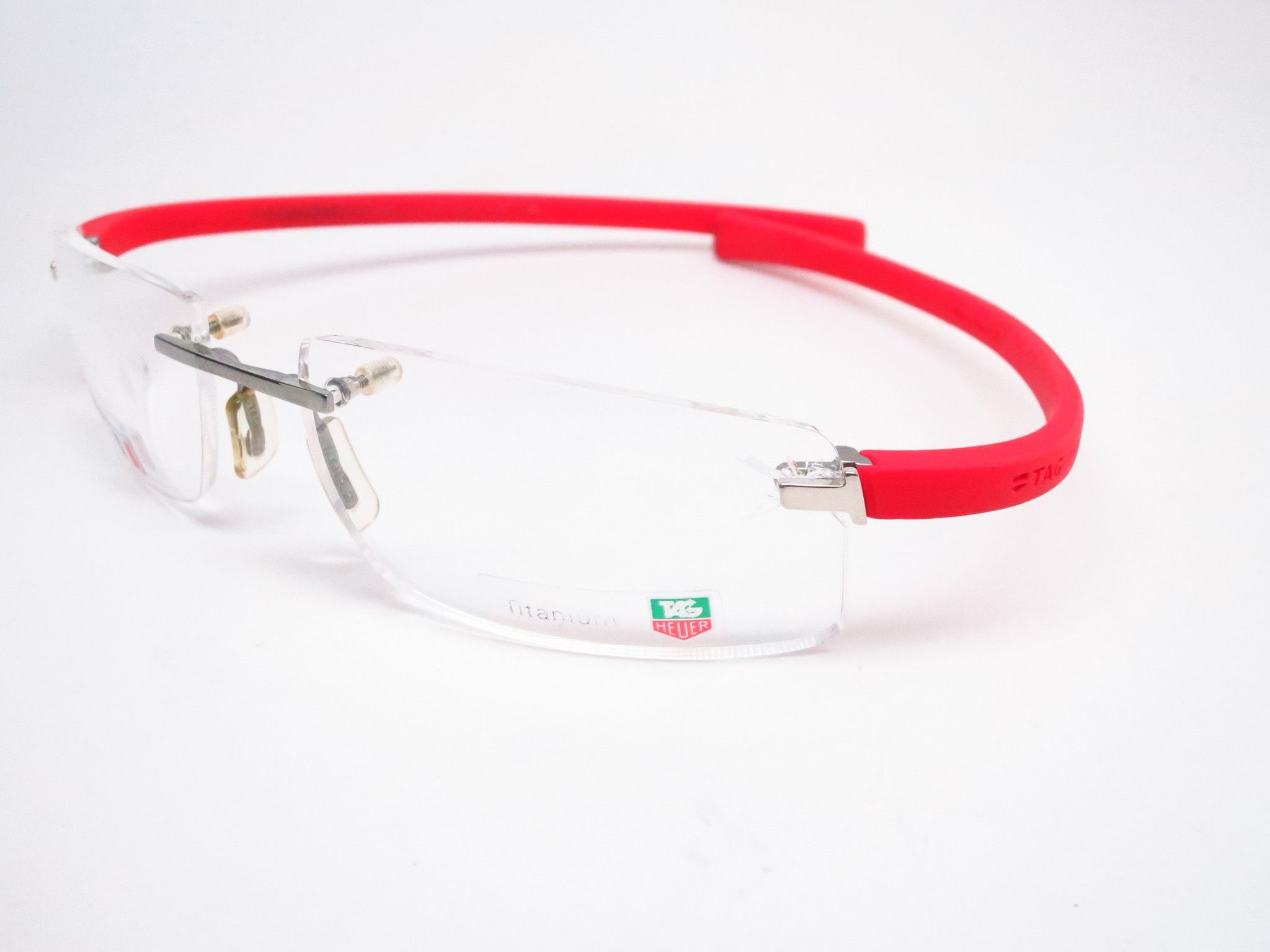 Tag heuer eyeglasses frames uk - Tag Heuer Th 3521 004 Red Rimless Eyeglasses
