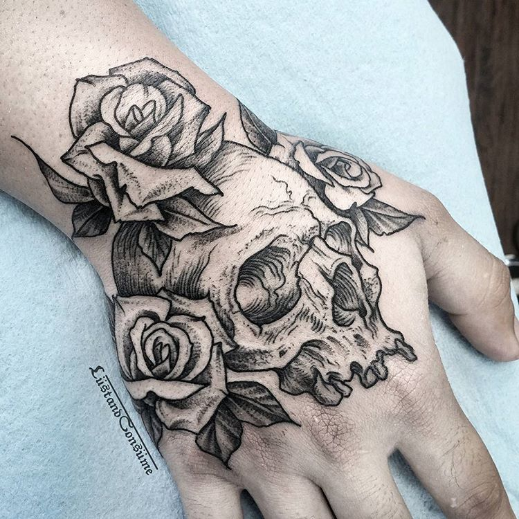 Skull And Roses Banger For This Awesome Dude Thanks For The Laughs Manny Skull Roses Han Skull Rose Tattoos Skull Hand Tattoo Rose Hand Tattoo
