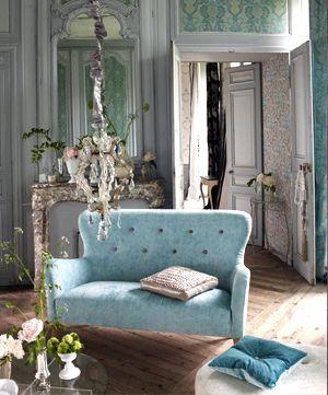Modern Fabric Romantic French Living Room Duck Egg Velvet