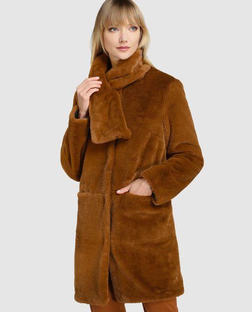 Abrigo de mujer Zendra El Corte Inglés de pelo en color marrón ... 371cb9b40359