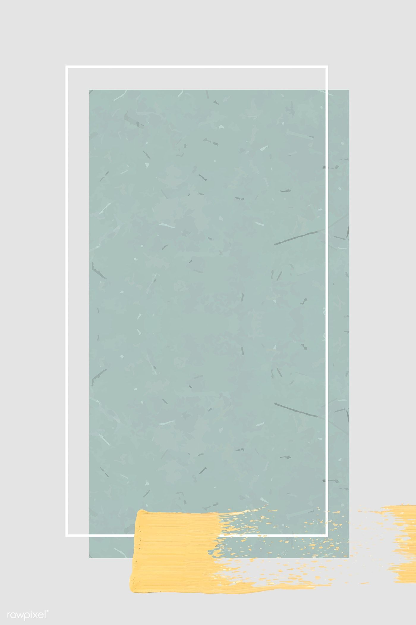 Download premium vector of White frame with a yellow brushstroke on cyan