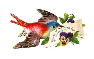 Antique Images: Free Bird Graphic: Antique Bird Clip Art from Victorian Scraps with Purple Pansies and Sentiment