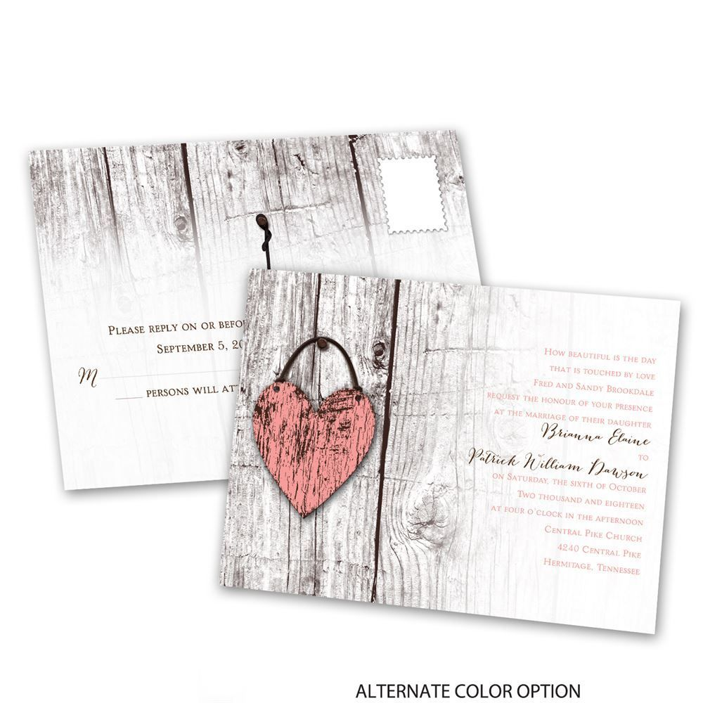 Wood Heart - Invitation with Free Response Postcard | Wedding ...