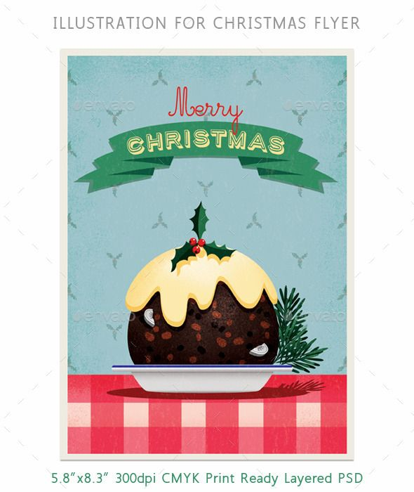 Christmas Pudding Flyer or Card Illustration Christmas - dinner flyer