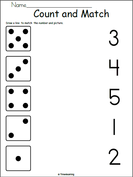 Math Worksheet For Kindergarten Match 1 To 5 Madebyteachers Preschool Math Worksheets Kindergarten Math Worksheets Kids Math Worksheets