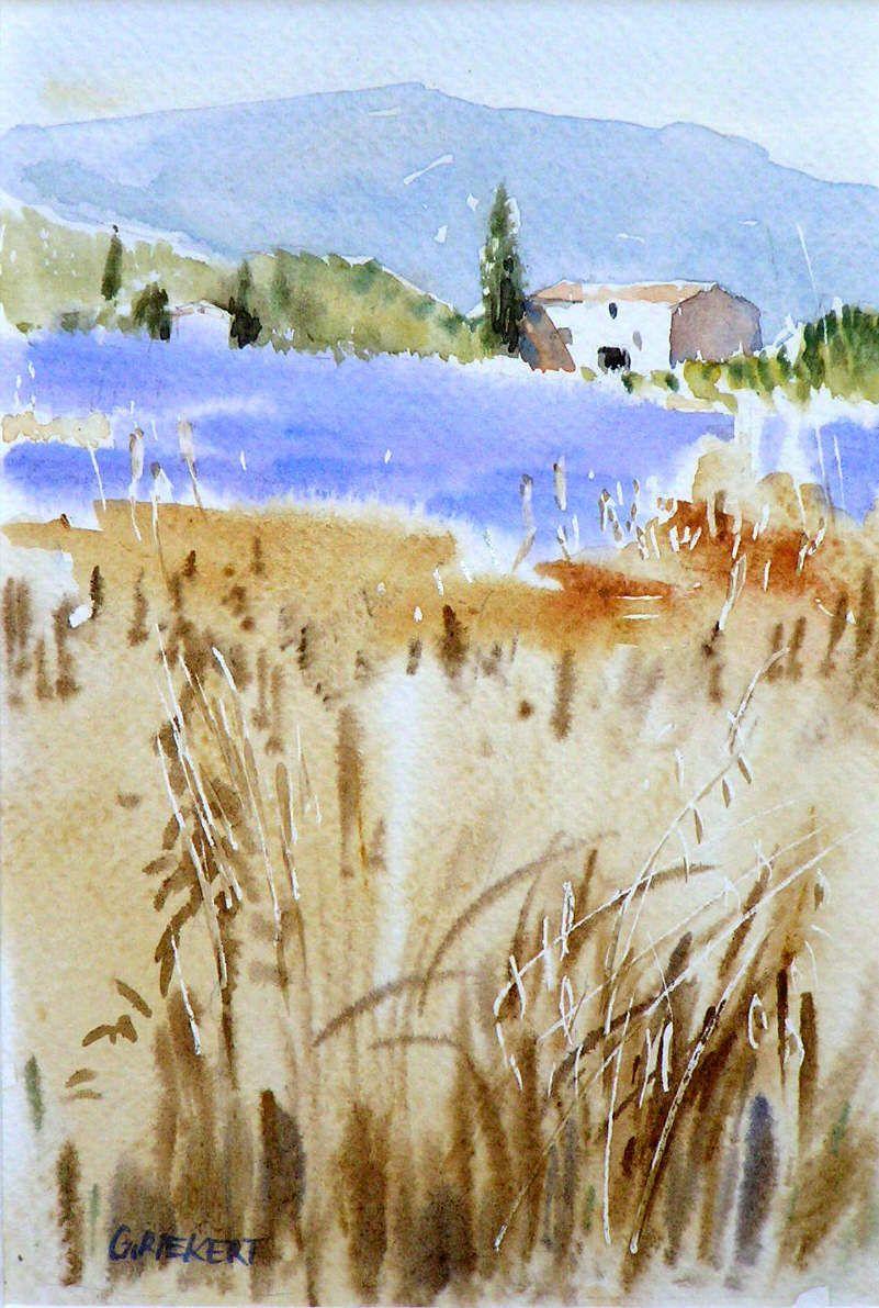 Mas Aux Lavandes Provence Paysage Aquarelle Peinture Paysage