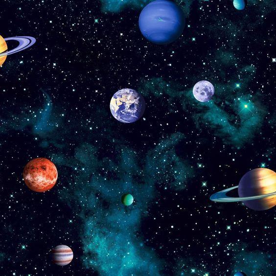 Kindertapete Jungen Weltraum schwarz rot 668100 Kinder