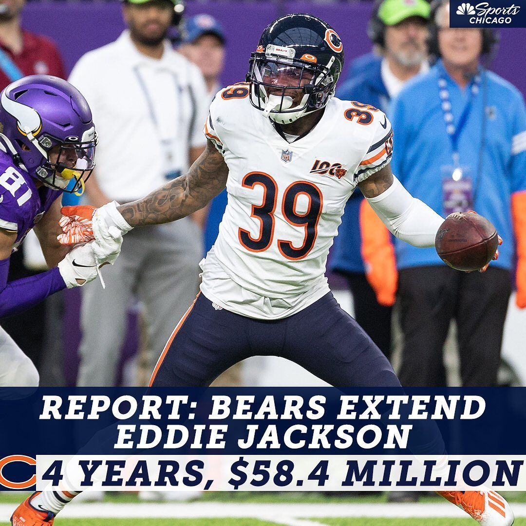 Nbc Sports Chicago On Instagram Per His Agents Sportstrust The Bears Have Made Eddie Jackson The Highest Paid Safety In T In 2020 Chicago Sports Sports Jackson