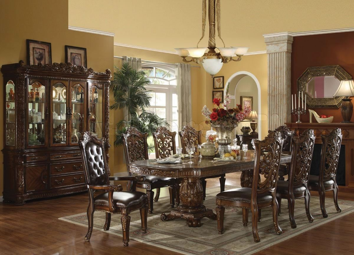 Elegant formal dining room furniture dark cherry finish for Formal dining table