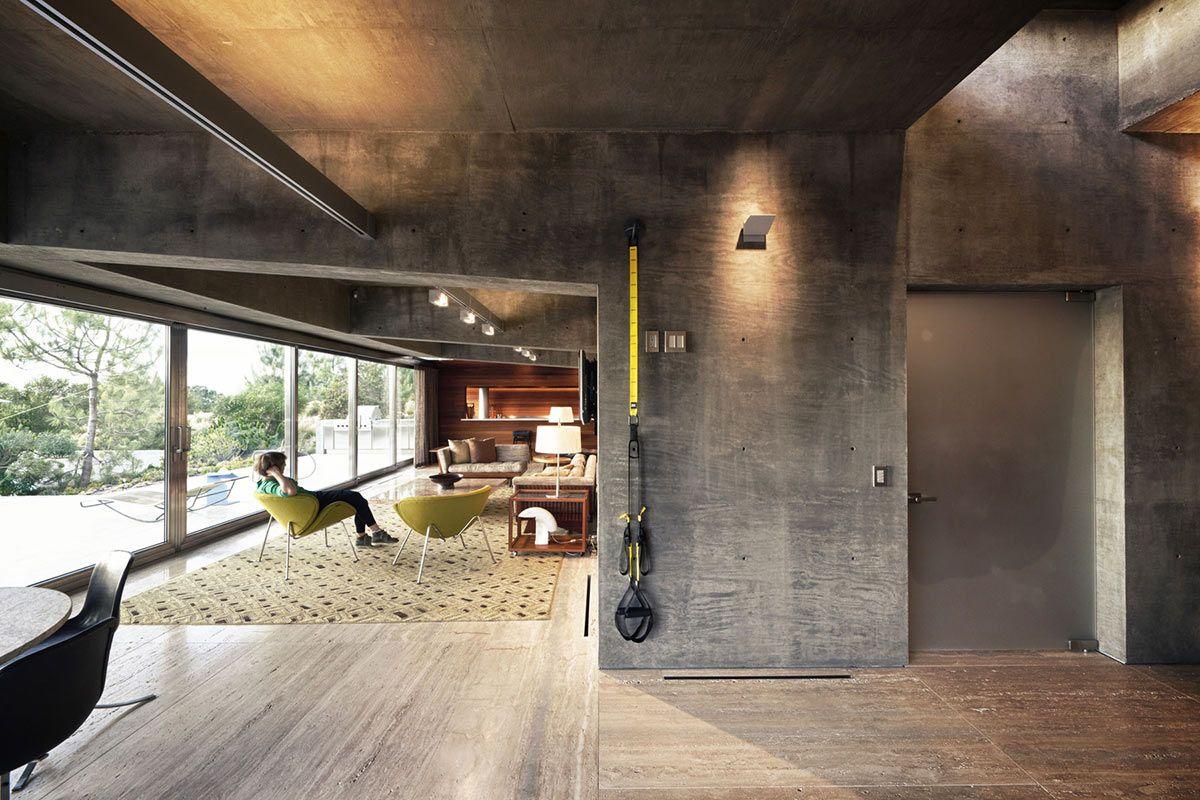 Extraordinary contemporary home california living space concrete walls arch pinterest for Exposed concrete walls interior