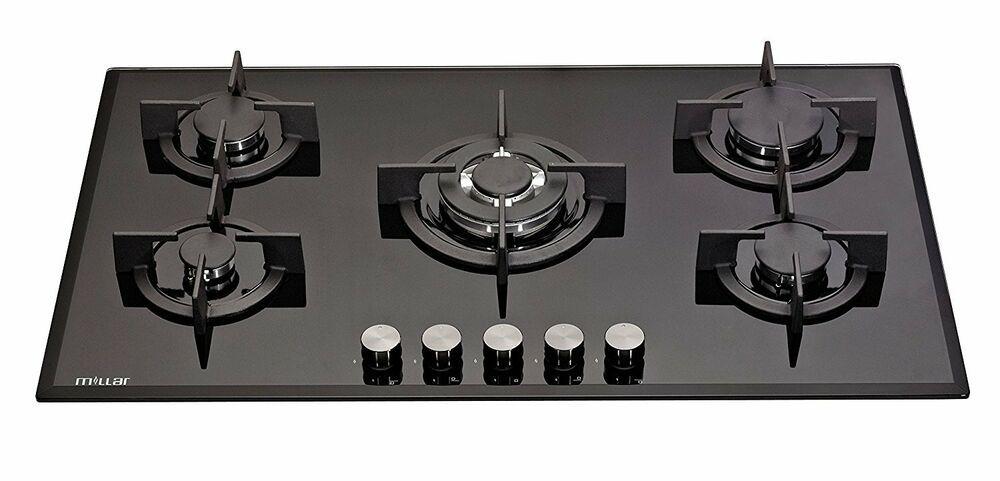 Millar Gh9051pb 5 Burner Built In Gas On Glass Hob 90cm Cast Iron Stands Wok Ebay Uk Kitchen Hobs Cooktop