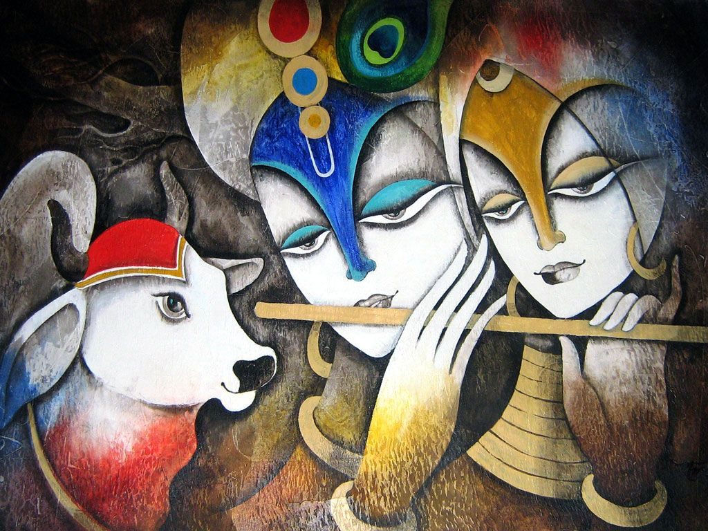 Radha With Krishna Glass Painting Hd Wallpapers Free Paintings