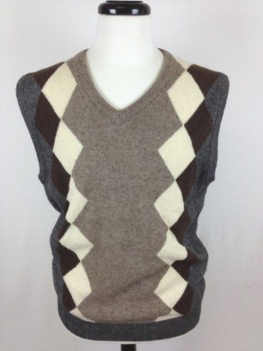 AMERICAN BLUE Sweater WOOL Himalayan YAK Brown ARGYLE Sleeveless ...