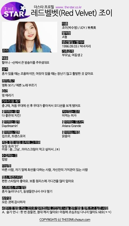 "Red Velvet Global on Twitter: ""[OFFICIAL/PROFILE] 140926 레드벨벳 Red Velvet 조이 JOY 프로필 Profile for 더스타 The Star. [2P] http://t.co/ND0Br97Zeo"""