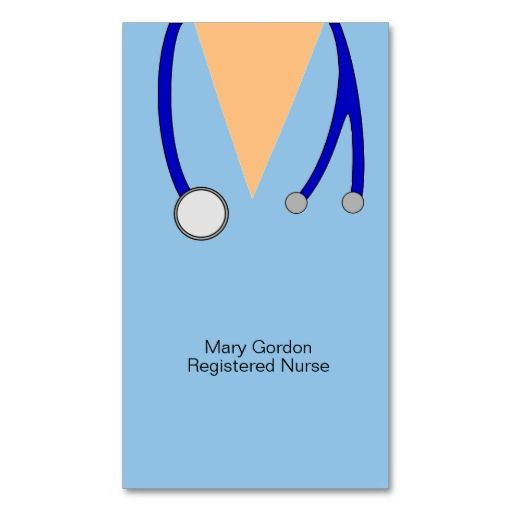 whimsical scrubs and stethoscope registered nurse business card