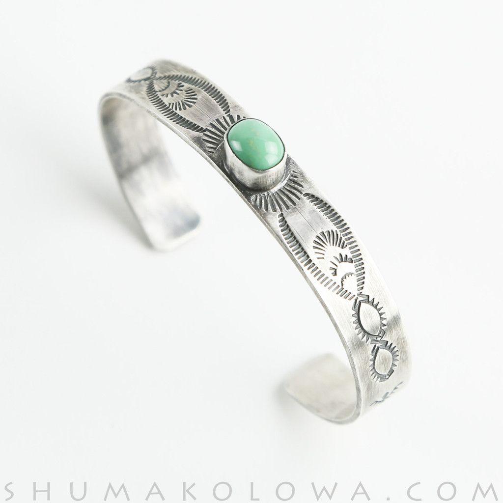 Bobby Johnson Green Turquoise & Sterling Silver Stamped Bracelet
