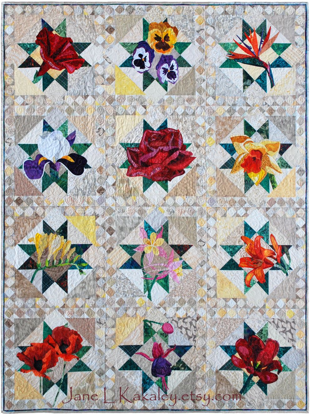 Flower Applique Quilt Patterns New Decoration