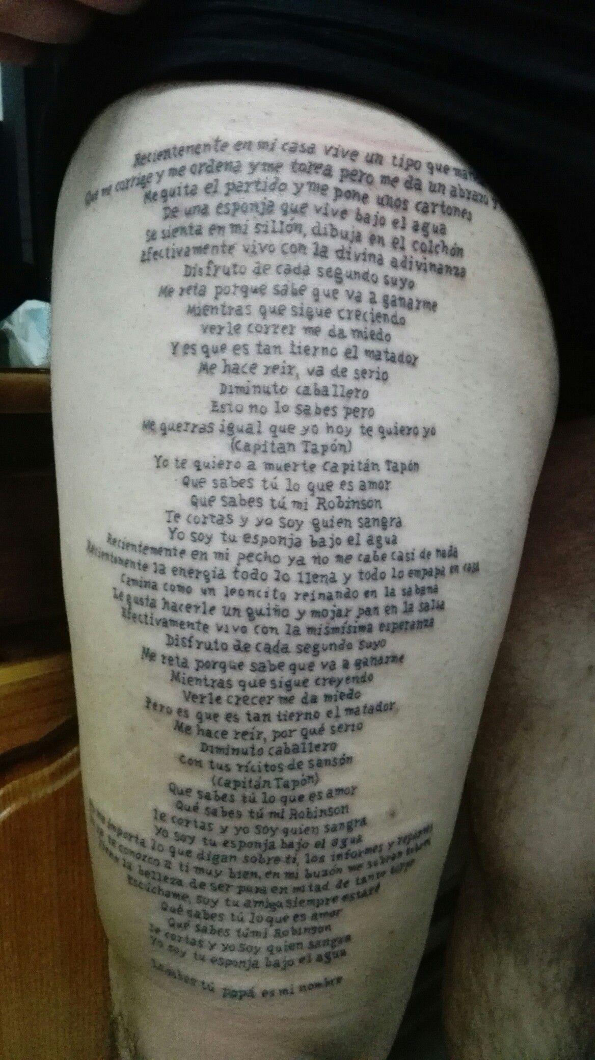 Todos Los Tatuajes De Alejandro Sanz tatuaje letra canción capitán tapón, de alejandro sanz, datura