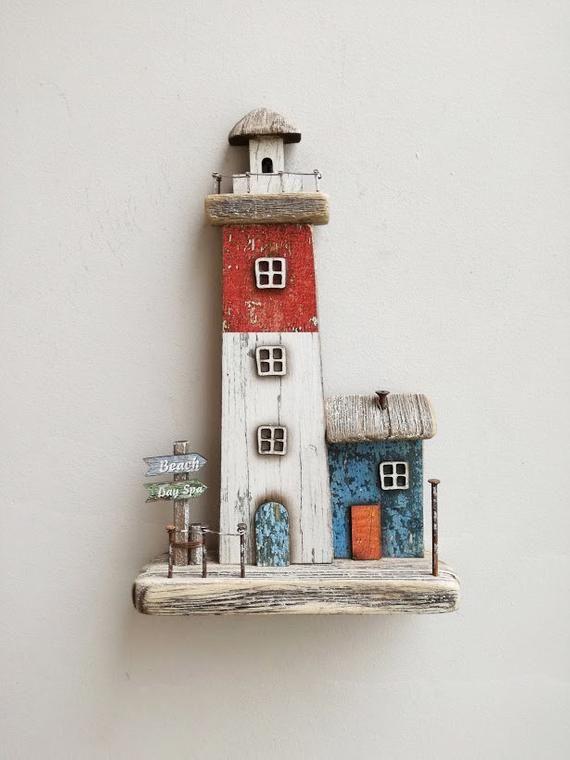 Decorative wooden lighthouse, rustic boho lighthouse, beach …