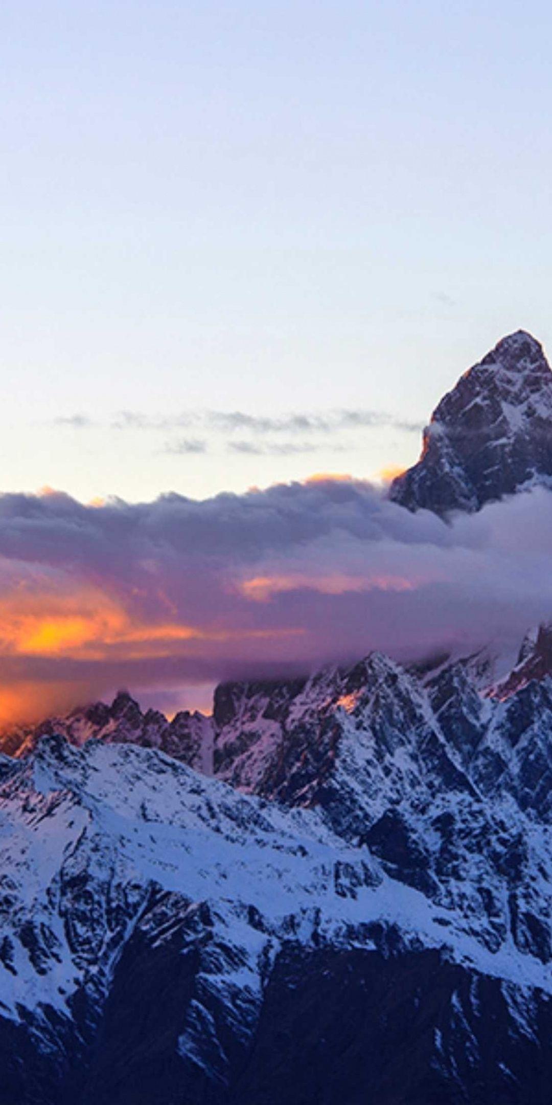 Sunset Mountains Peak Clouds 1080x2160 Wallpaper Wallpaper