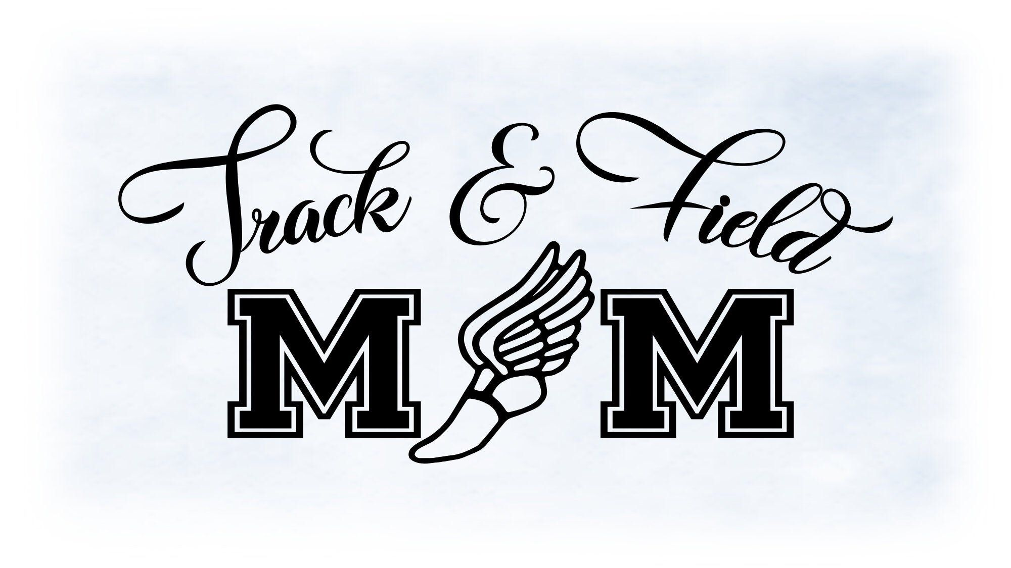 "Sports Clipart Large Black, White Words ""Track & Field"