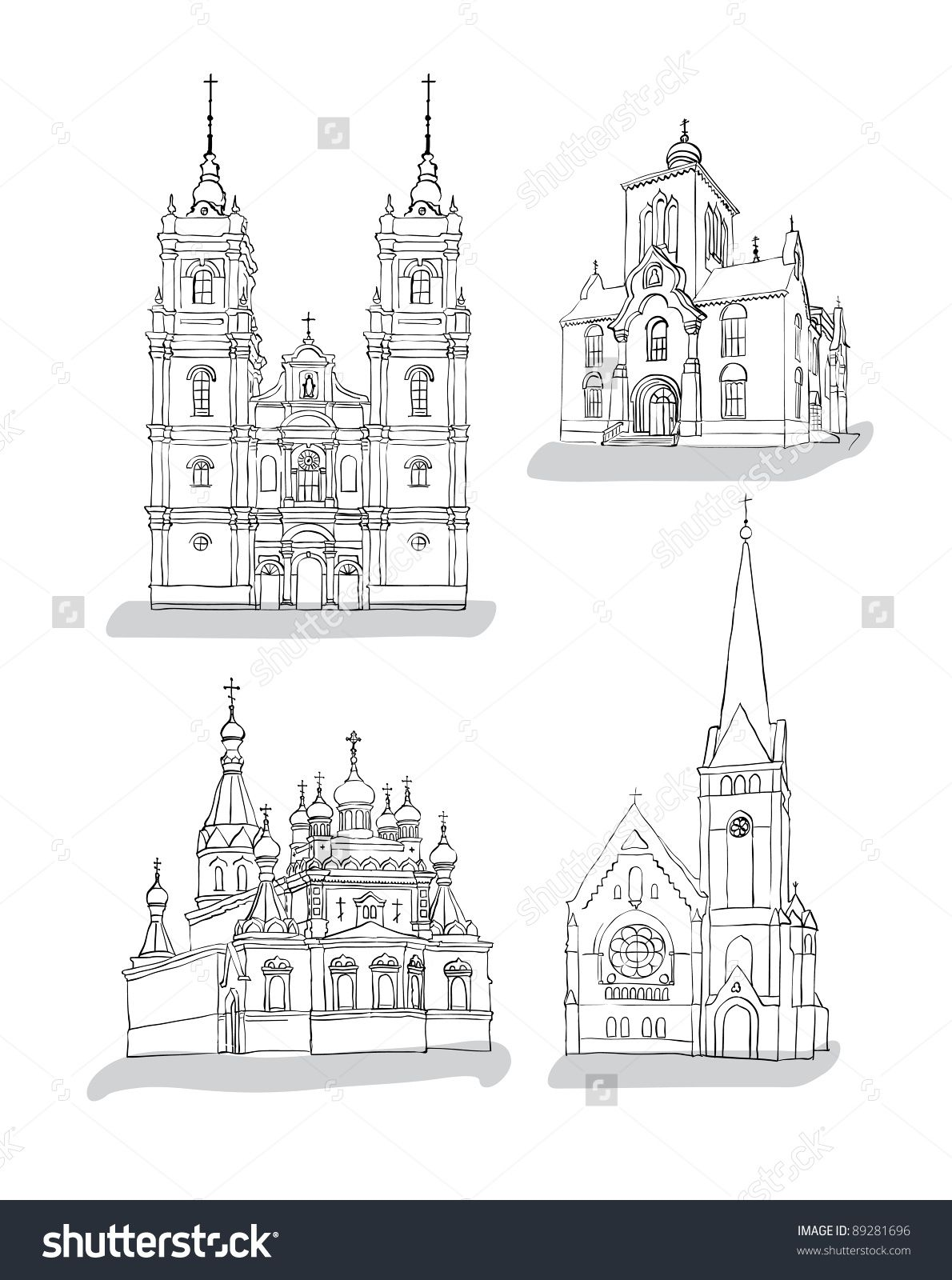 A set of sketches of churches hand drawn vector illustration