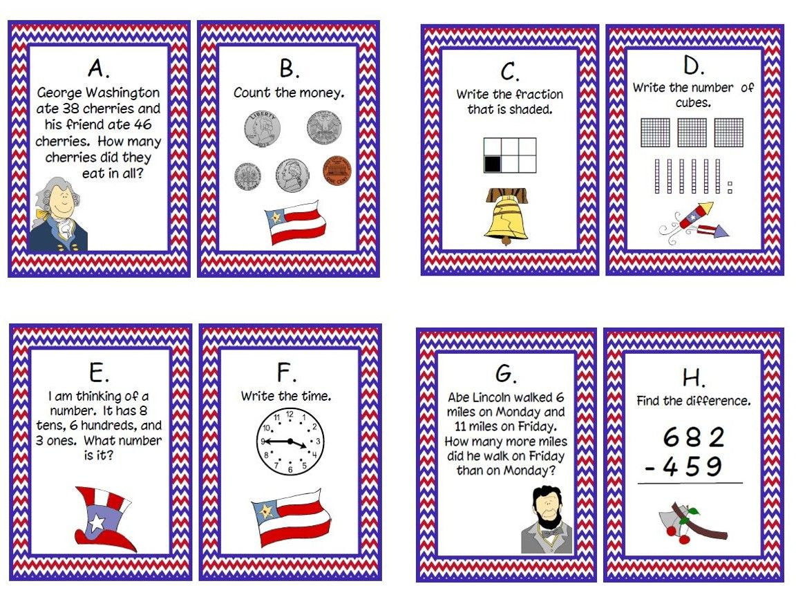 President S Day Task Cards Freebie For Second Grade Great