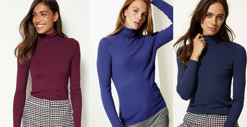 quality first where can i buy lowest discount M&S Ladies POLO TURTLE NECK Burgundy Navy Blue Ribbed Jumper ...