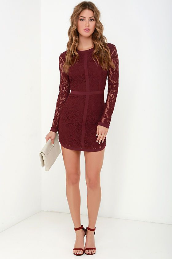 Sweet as Sugar Burgundy Long Sleeve Lace Dress at Lulus.com! 25df279f9