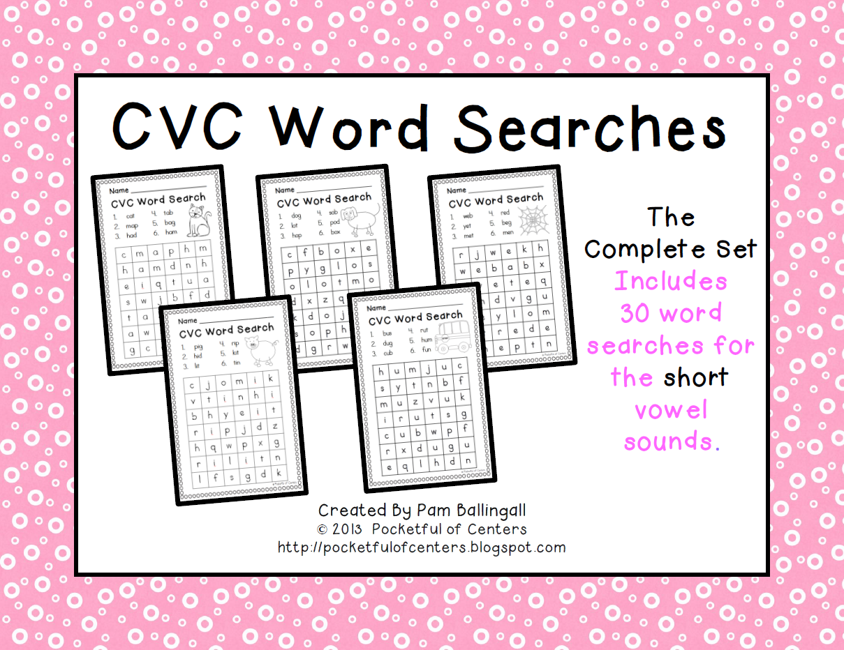 Cvc Words Worksheets Word Searches