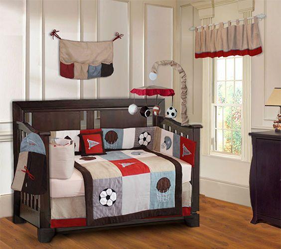 9 piece go team boys sport crib bedding baseball football soccer basketball ensembles de literie pour