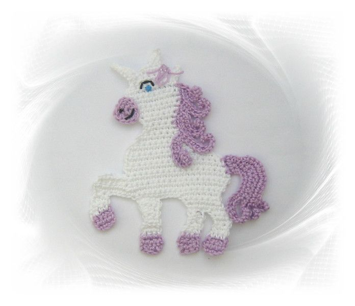 Häkelapplikationen - Einhorn  , Unicorn crochet, gehäkelt Pferd, Einhorn