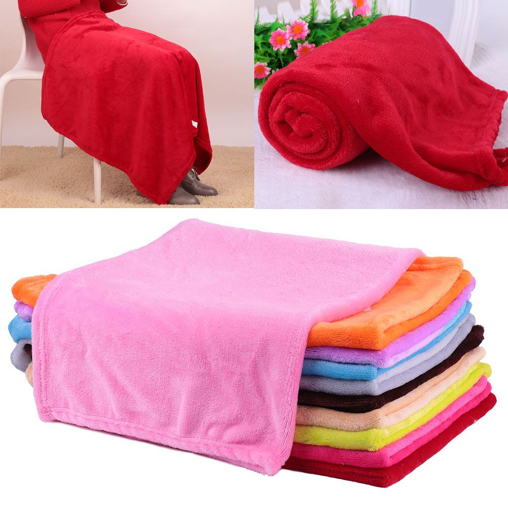 Super Soft Coral Fleece Throw Luxury Warm Home Sofa Bed Baby Solid