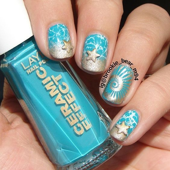 I am unfolding before you 18 beach nail art designs, ideas, trends &  stickers of these summer nails are adorable and stunning. - 15 Spectacular Seashell Nails Pictures #naildesignideaz
