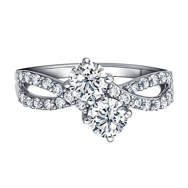 Exclusively Us Lab Created White Sapphire Two Stone Ring In Sterling Silver Stone Rings Helzberg Diamonds Diamond Bands