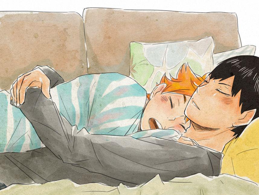 Cuddle by Nerrianah on DeviantArt// kagehina from Haikyuu!