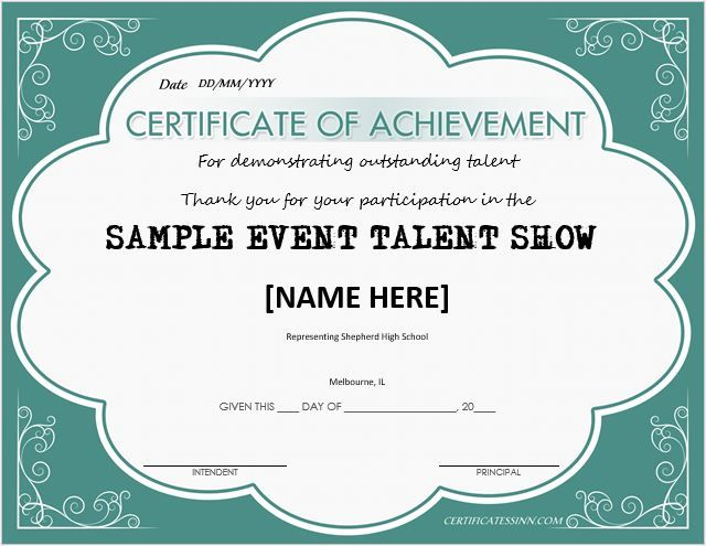 Talent Show Award Certificate DOWNLOAD at http\/\/certificatesinn - sample award certificates