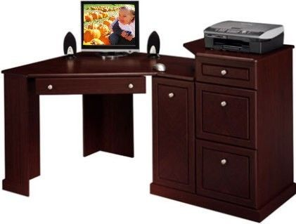 Bush Birmingham Corner Desk Pencil Drawer Drops Down To Reveal A Keyboard Shelf File Drawers Hold Letter Sized Files Raised Side Tier Is Perfect For