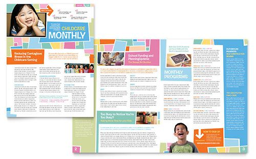 Newsletter Design Template. Many different layout ideas. Looks like ...