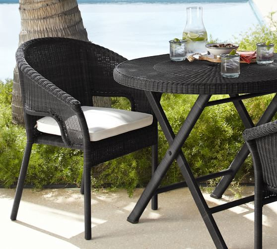 Palmetto All Weather Wicker Stacking Armchair Black 250 With Cushion