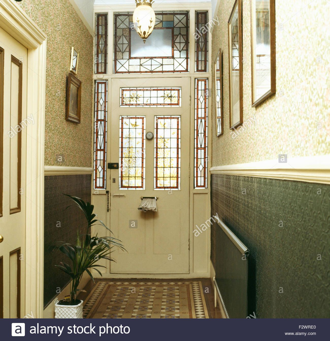 Green Hallway Victorian: Stained Glass Panels In Front Door In Victorian Style Hall