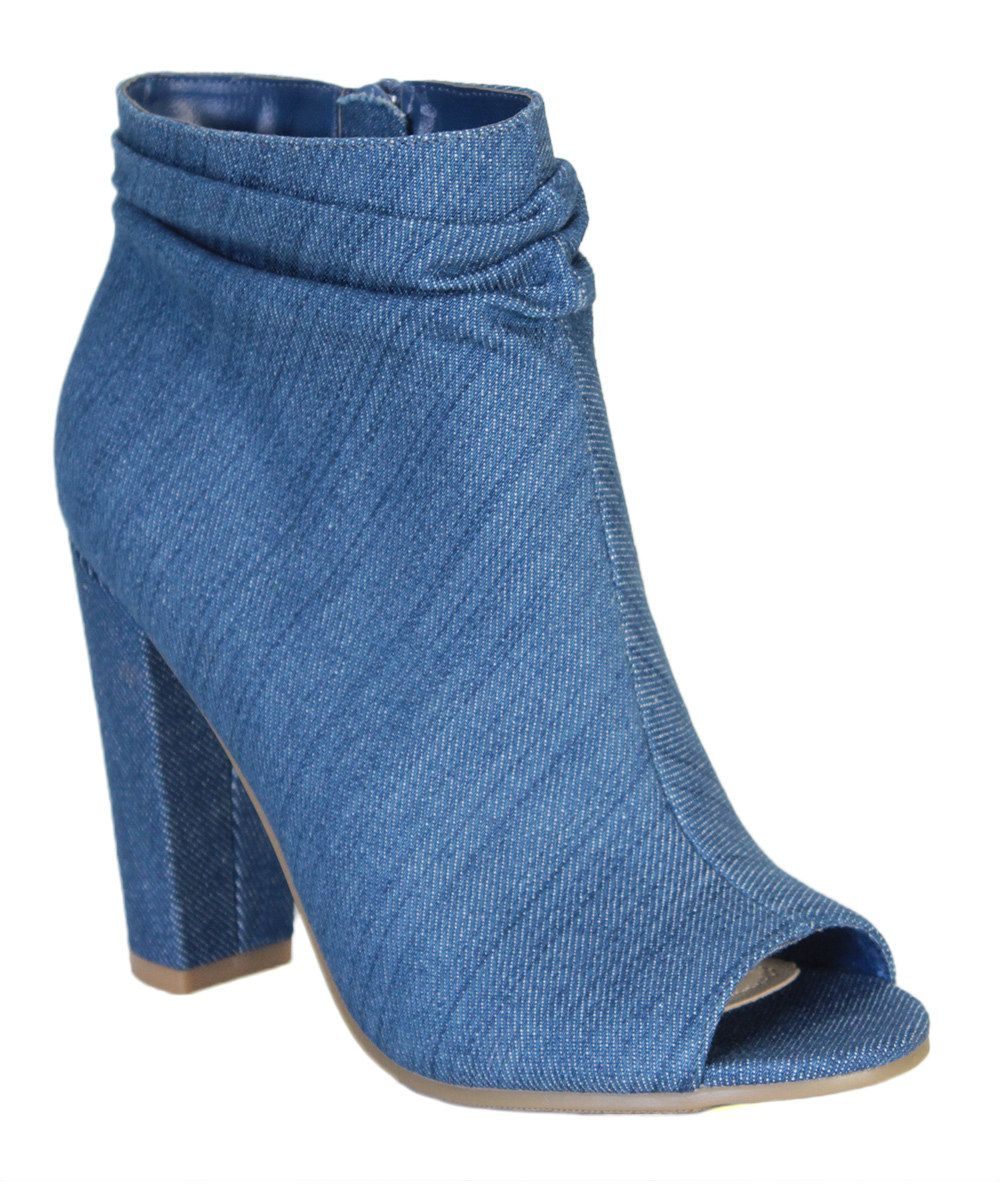 bb66c9e36c1 Look at this Bamboo Blue Denim Rampage Open-Toe Boot on  zulily today!