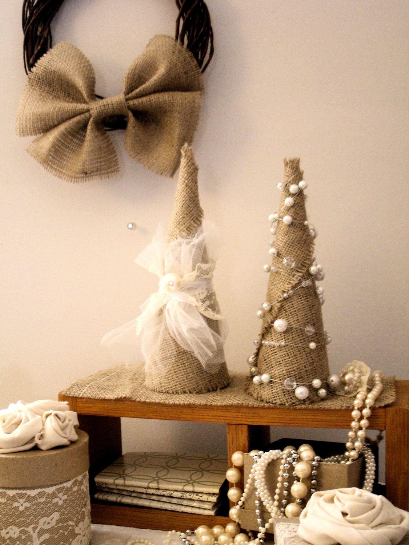 Burlap Shabby Chic Christmas Tree...this looks easy enough!