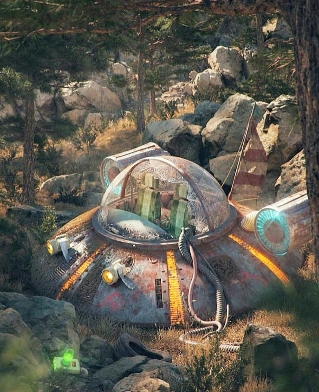 Crashed Ufo In Woods Art May Be By Filip Hodas Fondos